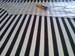 Cutting out the striped material