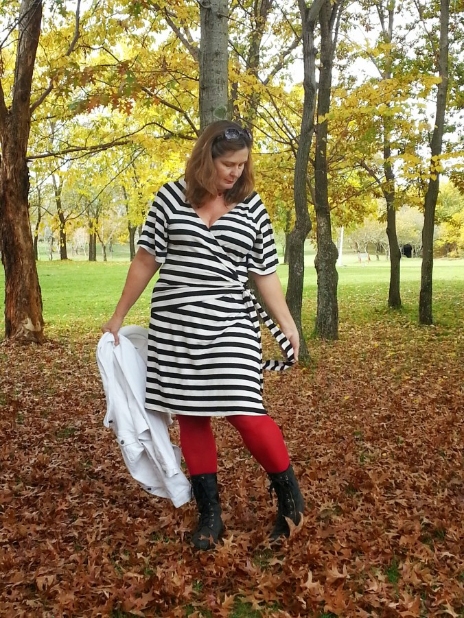striped wrap dress and autumn leaves