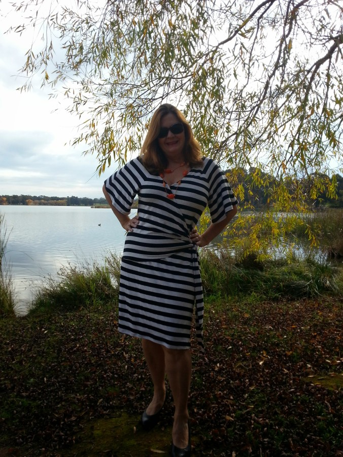 simplicity 1653 striped dress front view