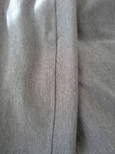 close up seam of ponti pants