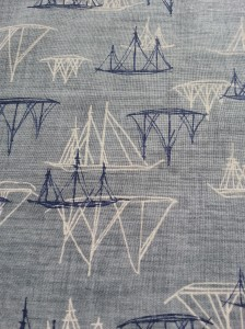 Moda fabric ships hearty good wishes close up